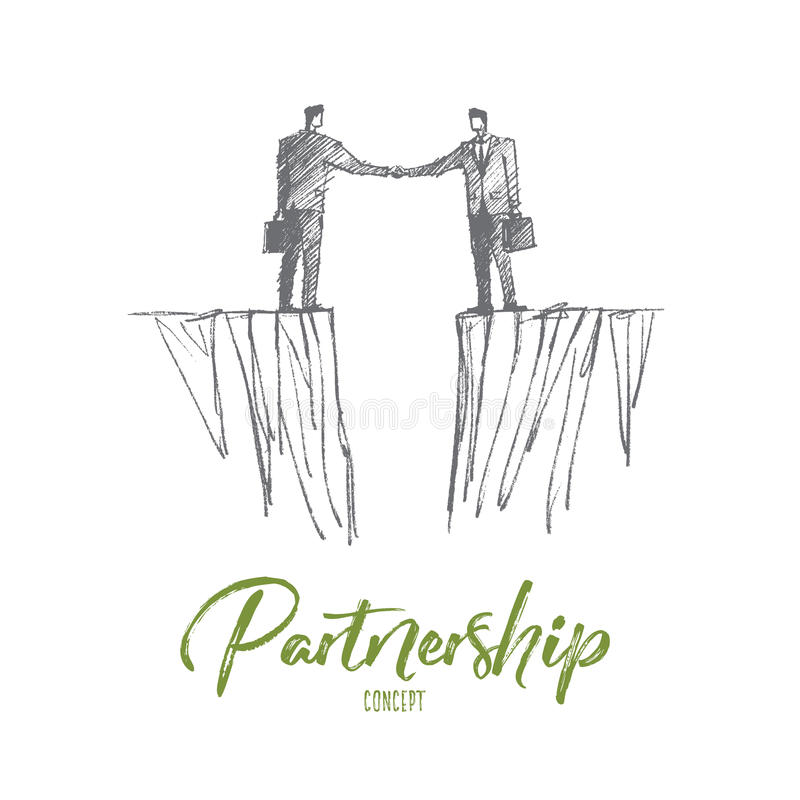 Hand drawn handshake of two businessmen over gap. Vector hand drawn partnership concept sketch. Handshaking of two businessmen standing on different sides with vector illustration