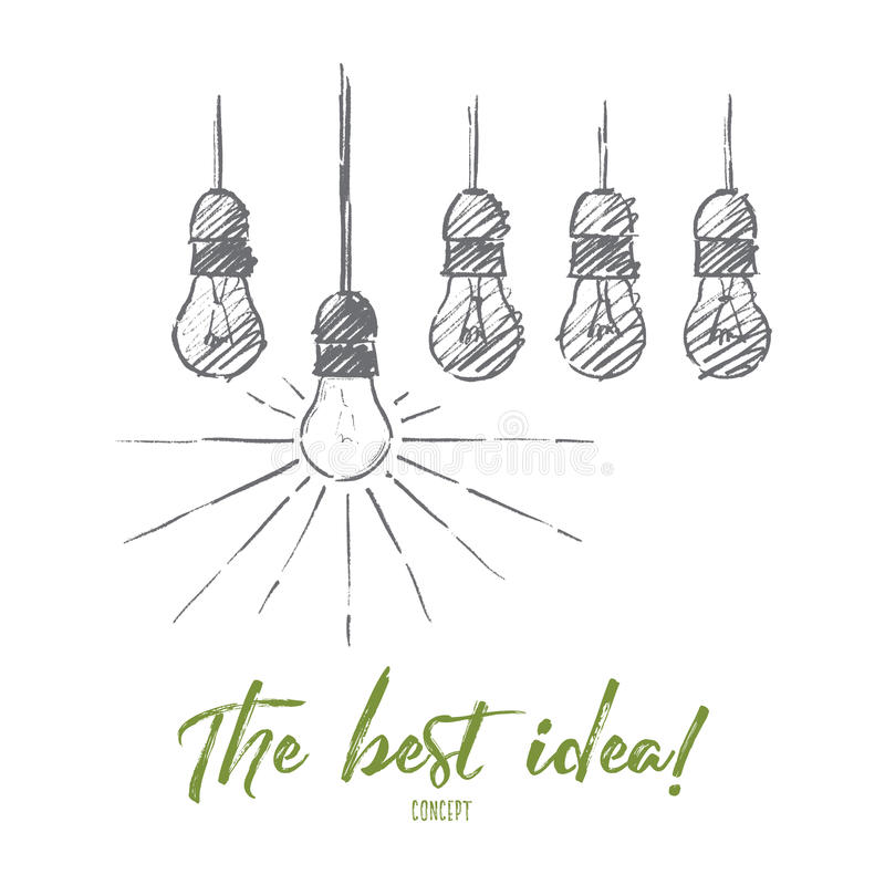 Hand drawn hanging light bulbs with one shining stock illustration