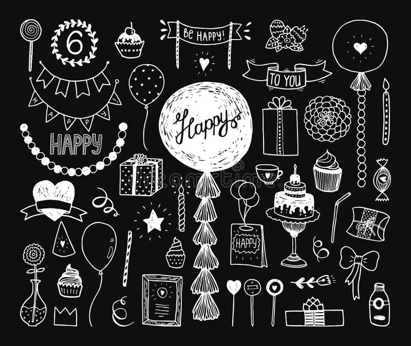 Hand drawn Happy birthday collection vector illustration