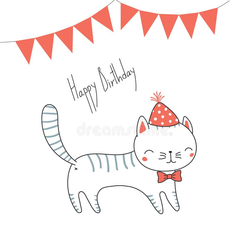 Cute birthday greeting card with a cat stock vector illustration download cute birthday greeting card with a cat stock vector illustration of illustration ears m4hsunfo
