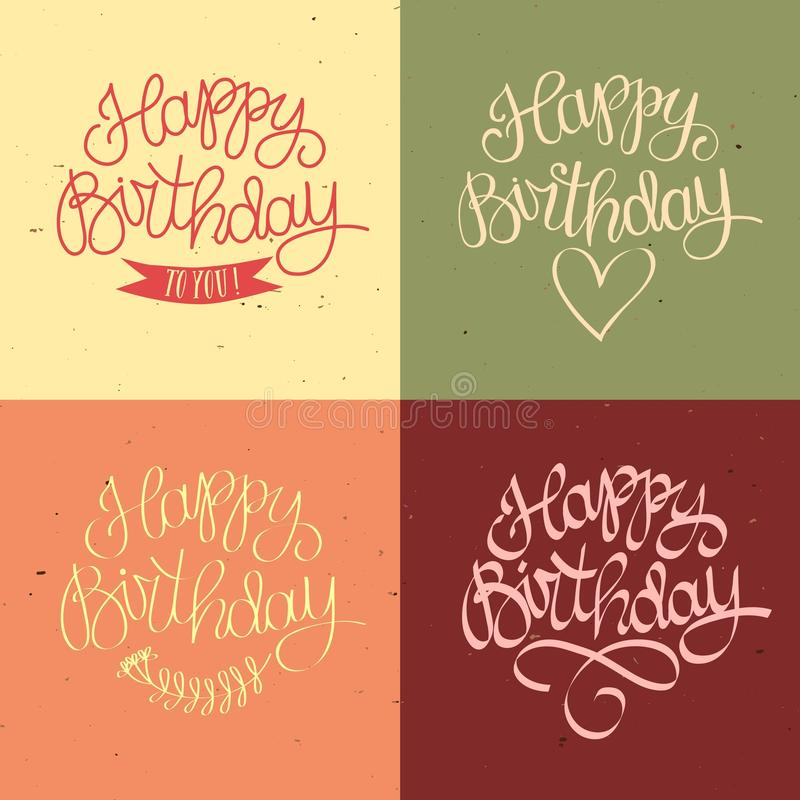 Hand drawn Happy Birthday title. On old paper background with textures. Beautiful old style calligraphy for your design vector illustration