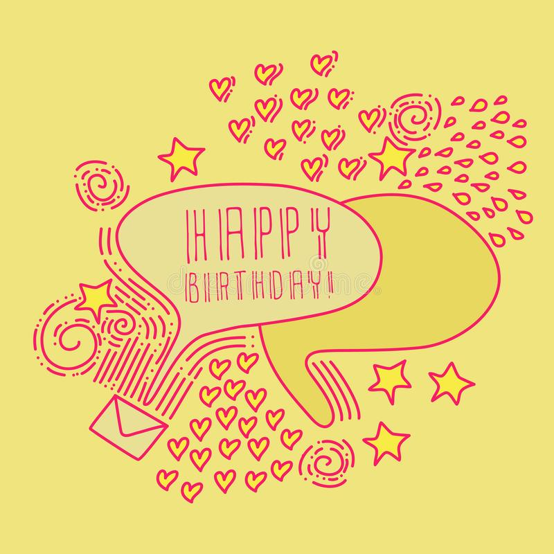 Hand drawn HAPPY BIRTHDAY two speech bubbles with hand draw hearts, lines, dots, circles, envelope, spirals. royalty free illustration