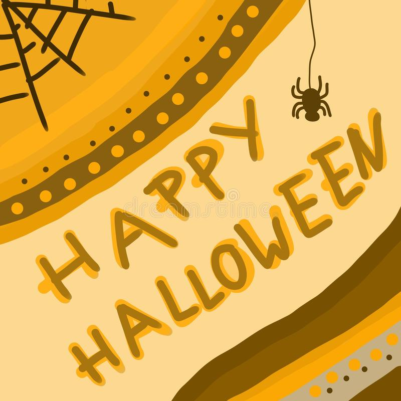 Hand drawn happy Halloween background or template for greeting cards or invitation with spider web vector illustration