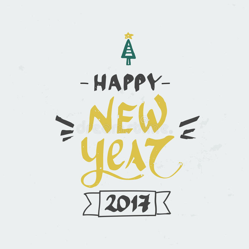 Hand drawn Happy hew year lettering. Perfect Xmas design for greeting cards. Vector Christmas card. Happy new year. Perfect Xmas design for greeting cards and stock illustration