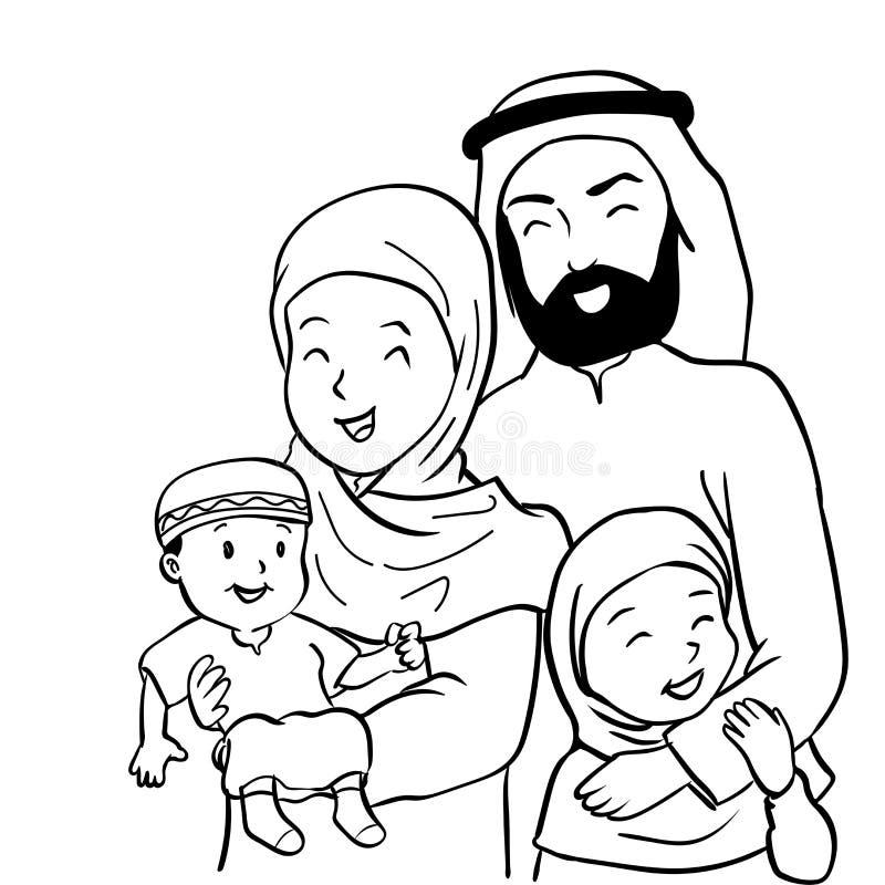 Hand drawn Happy Muslim Family-Vector Cartoon Illustration royalty free illustration