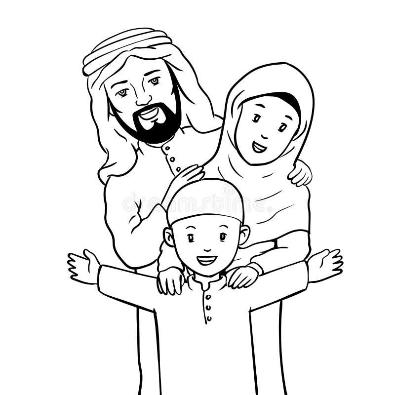 Hand drawn Happy Muslim Family-Vector Illustration royalty free illustration