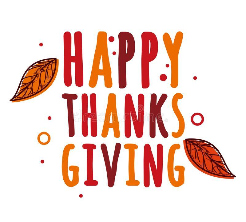 Happy thanksgiving day vector design concept with red maple leaves stock illustration