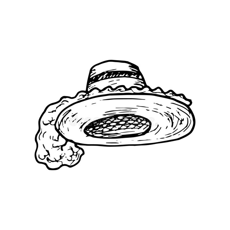 Hand Drawn hat with feathers doodle. Sketch style icon. Decoration element. Isolated on white background. Flat design. Vector stock illustration