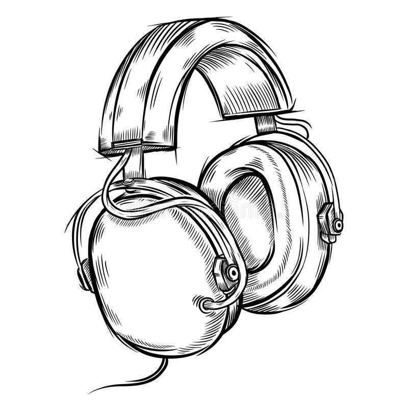Hand-drawn headphones stock illustration