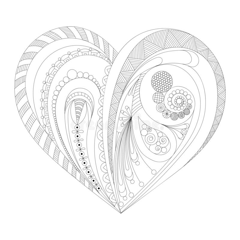 Hand drawn heart for adult anti stress. Coloring page with high details isolated on white background. Zentangle pattern for relax royalty free illustration