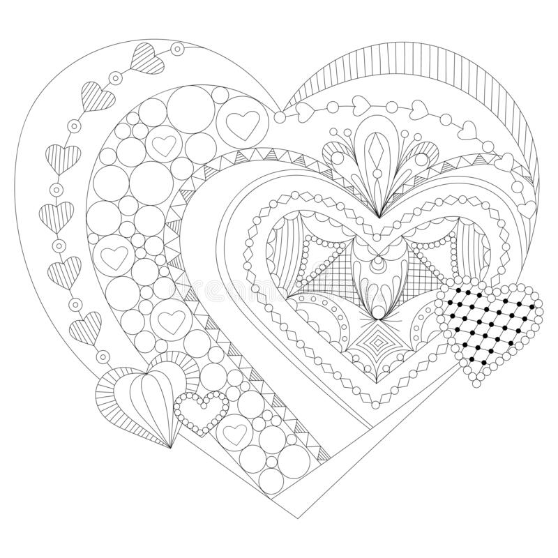 Hand drawn heart for adult anti stress. Coloring page with high details isolated on white background. Zentangle pattern for relax stock illustration