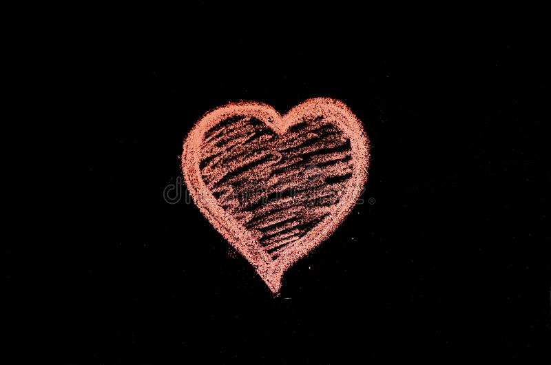 Hand drawn heart on chalk board.  royalty free stock photo
