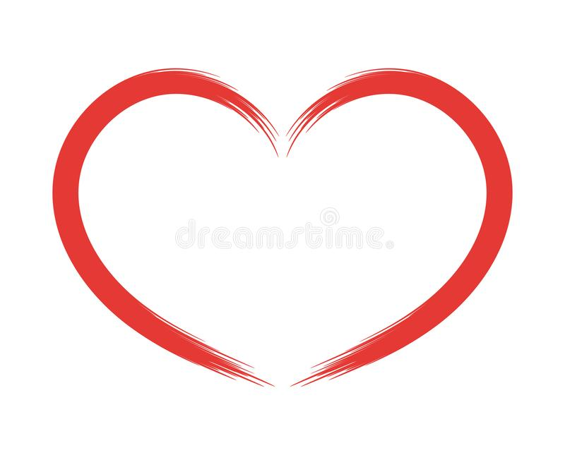 Hand drawn heart, design element for Valentine`s Day, icon. Vector object isolated on white background. vector illustration