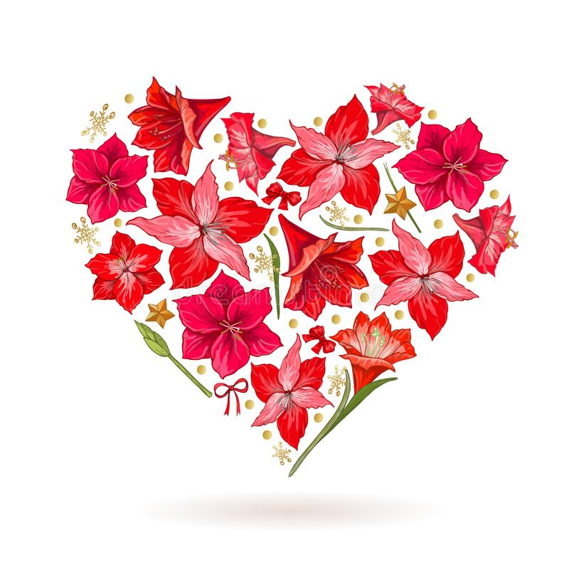 Free Hand Drawn Heart Of Hipeastrum Flowers. Card Valentine`s Day Stock Photography - 131837632