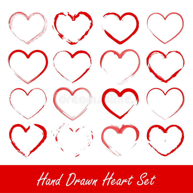 Free Hand Drawn Heart Set Royalty Free Stock Photo - 22828695