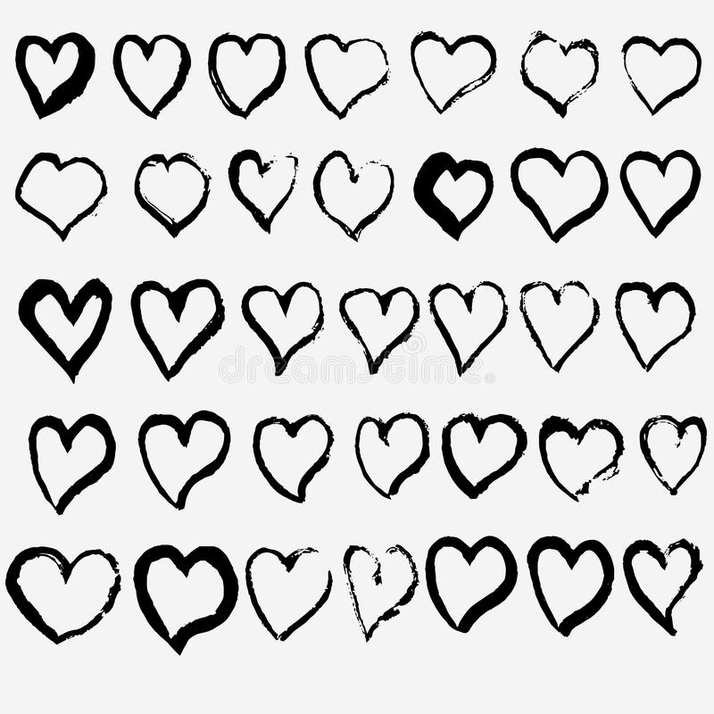 Hand drawn heart set. A collection of doodle sketch hearts. design for Saint Valentine day. Vector royalty free illustration