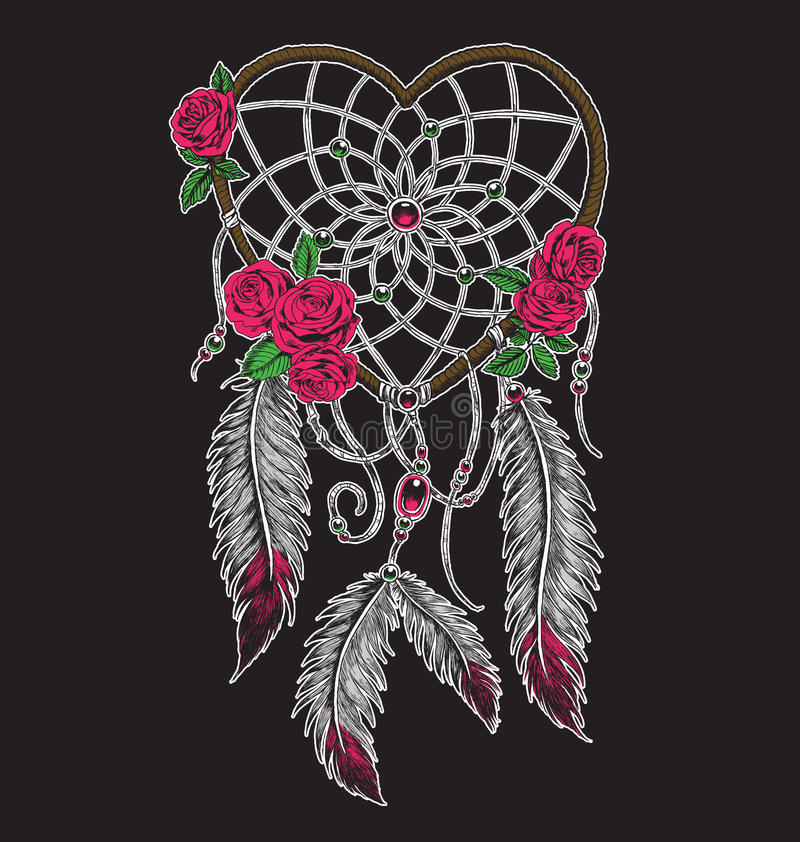 Hand drawn heart shaped dream catcher in full color stock illustration