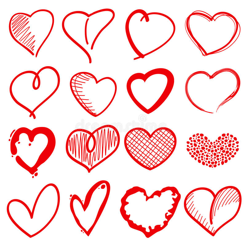 Free Hand Drawn Heart Shapes, Romance Love Doodle Vector Signs For Holiday Decor Stock Photos - 84202453