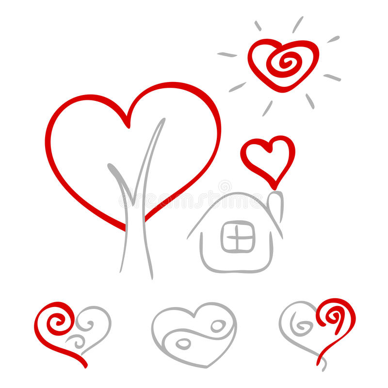 Download Hand drawn hearts 2 stock vector. Image of graphic, house - 25798098