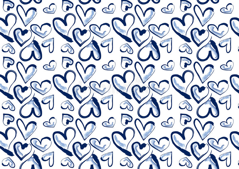 Hand drawn hearts in blue denim stock illustration
