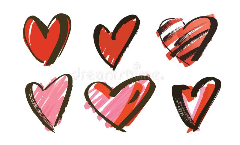 Hand drawn hearts collection. Vector illustration royalty free illustration