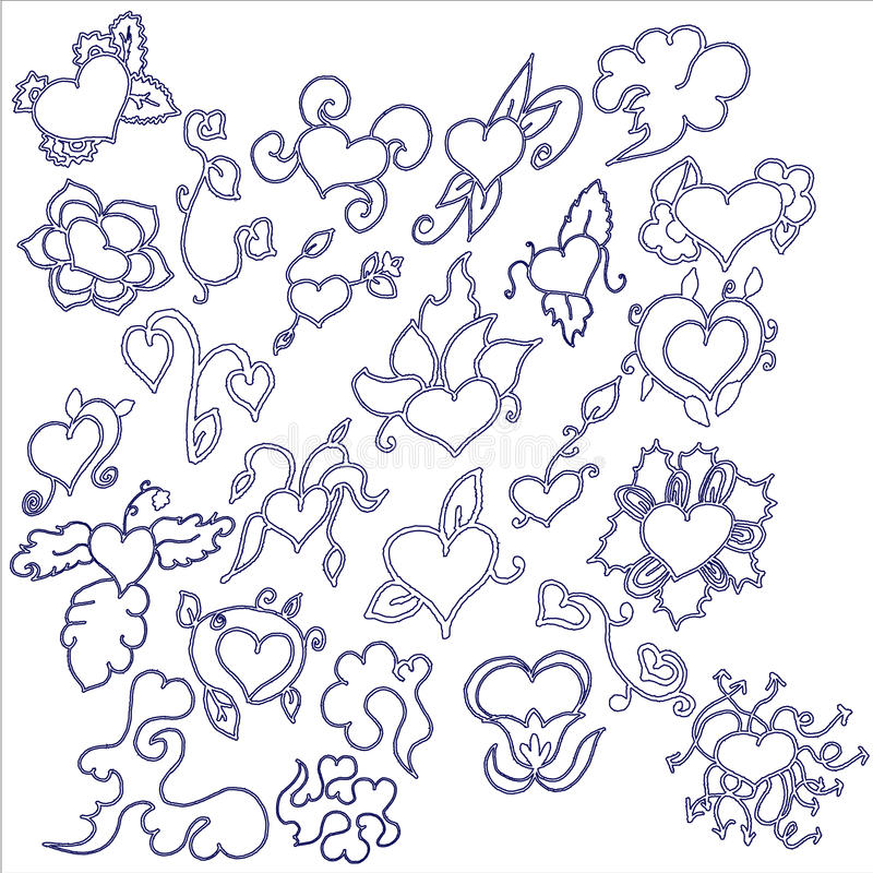 Free Hand Drawn Hearts Doodles Set Royalty Free Stock Photography - 22834117