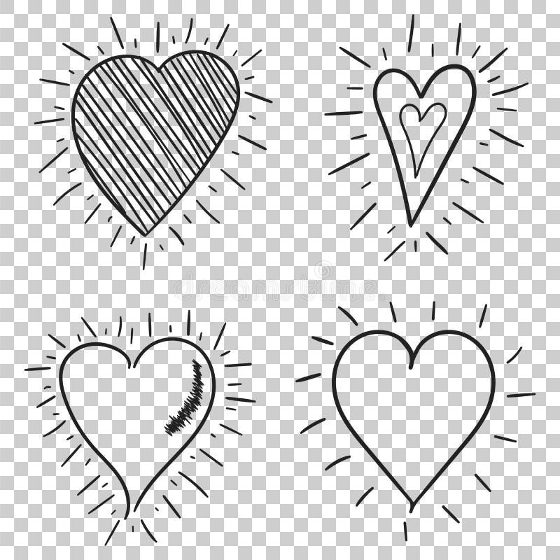 Hand drawn hearts icon set. Love vector illustration.  stock illustration