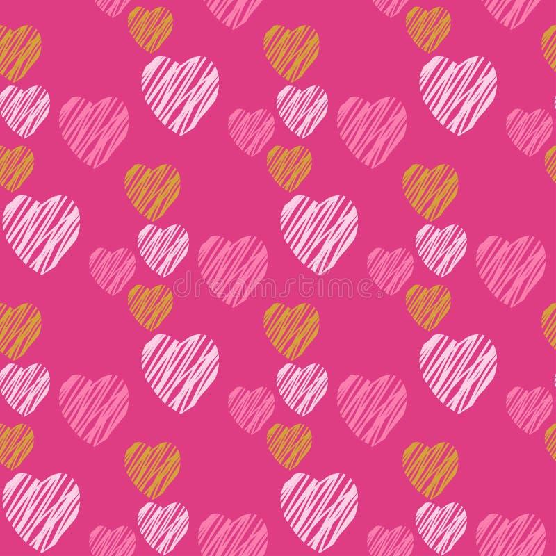 Hand drawn hearts seamless pattern. royalty free illustration