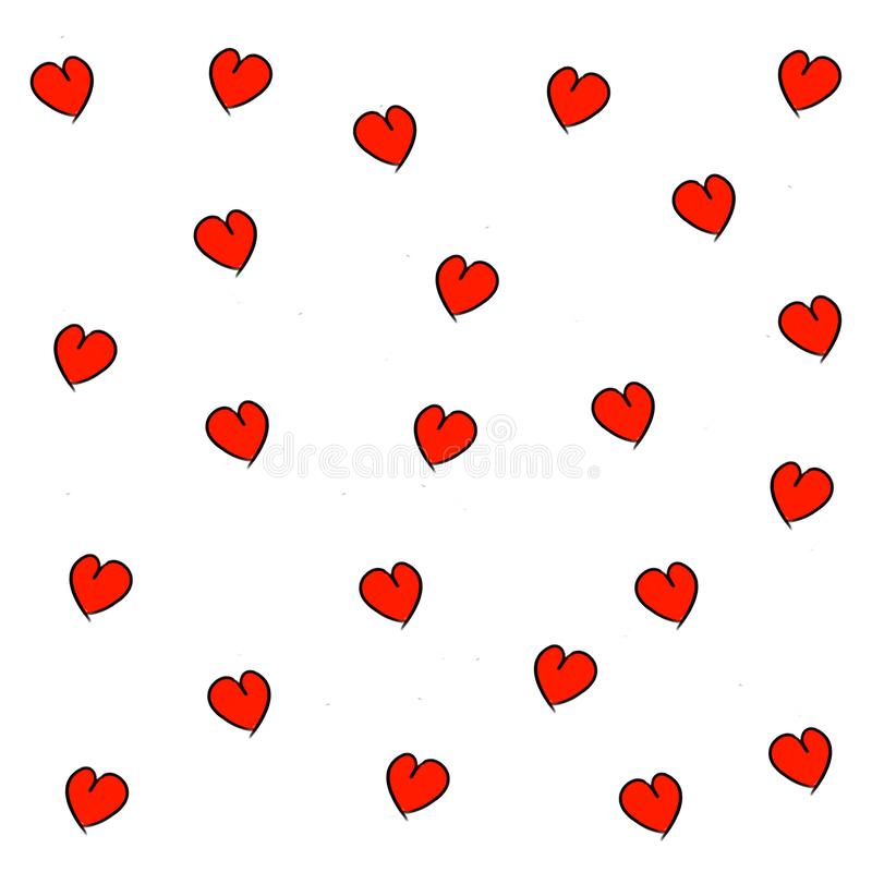 Hand drawn hearts seamless pattern. For wedding, Valentine`s Day, girlish romantic textile, wrapping paper, invitation card, background design. Illustration with royalty free illustration