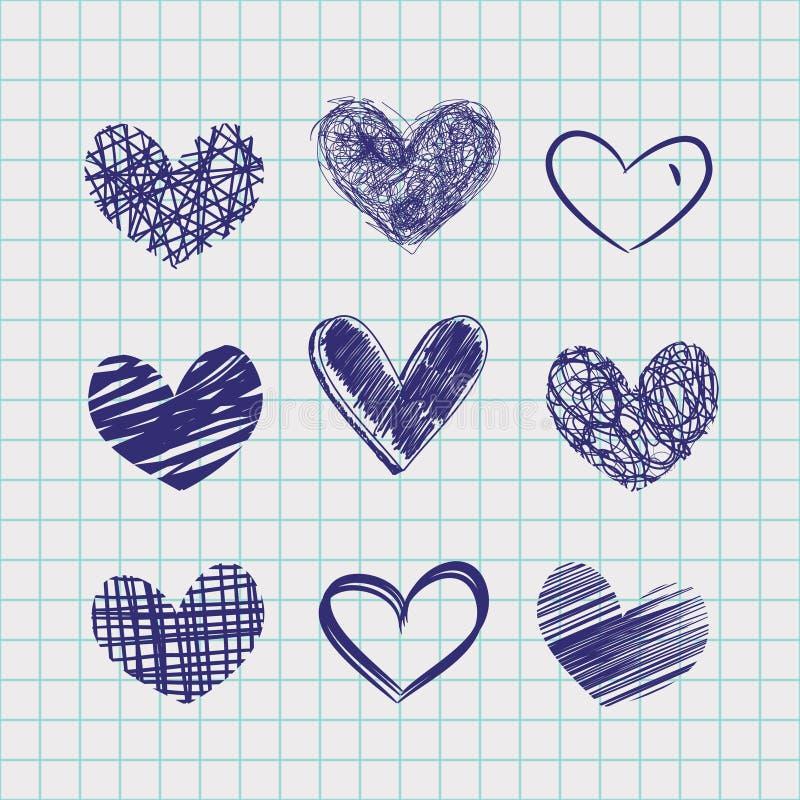 Hand drawn hearts royalty free illustration