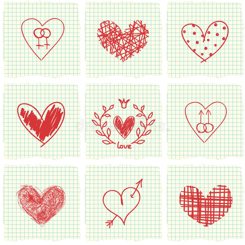 Hand drawn hearts vector illustration