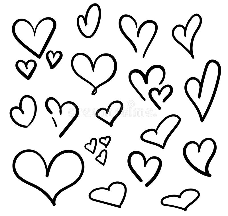 Hand drawn hearts set isolated. Design elements for Valentine's day. Collection of doodle sketch hearts hand drawn with ink. Vect stock illustration