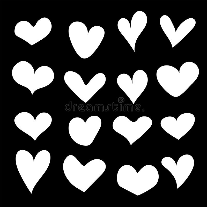 Hand drawn hearts set isolated. Design elements for Valentine's day. Collection of doodle sketch hearts hand drawn with ink. Vect vector illustration