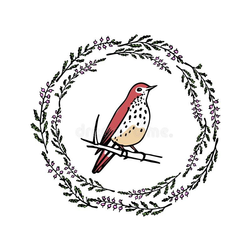 Hand drawn bird emblem stock vector. Illustration of bird - 108326731
