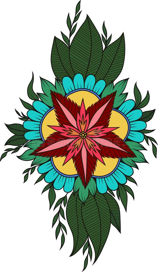 Henna Abstract Mandala Flowers and Paisley Doodle, Coloring Page stock photo
