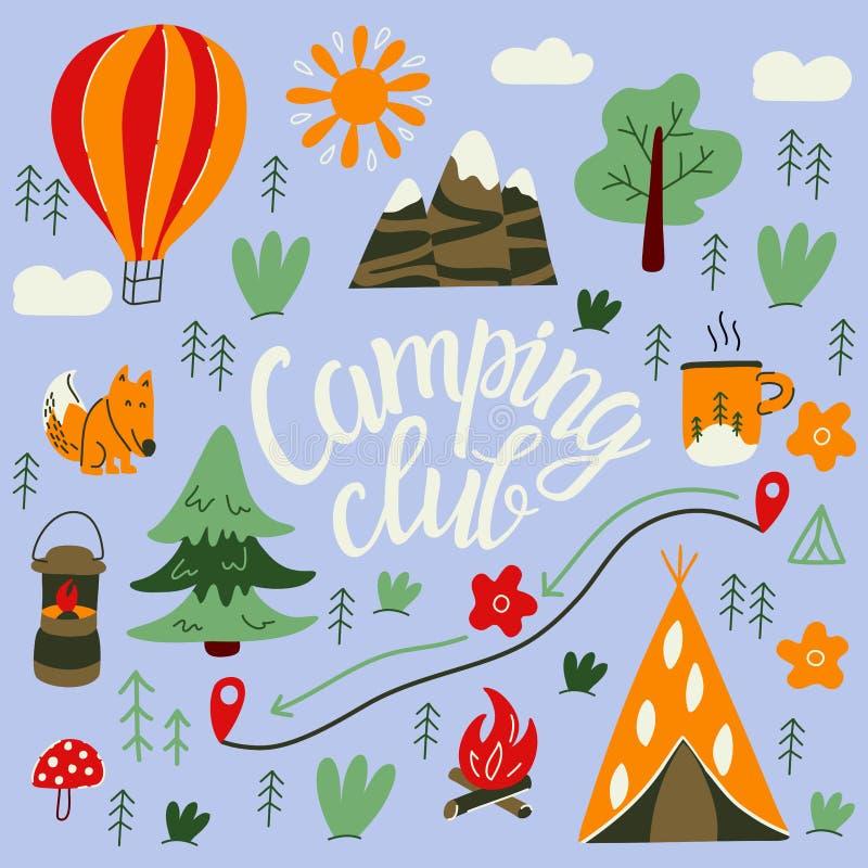 Hand-drawn het kamperen en wandelingselementen Leuk hoogtepunt als achtergrond voor vliegers en affiches Vector beeldverhaalillus royalty-vrije illustratie