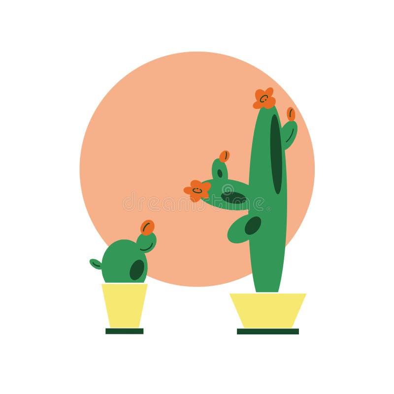Hand-drawn het koraalachtergrond van de illustratiecirkel met vastgestelde cactussen in potten in vlakke beeldverhaalstijl vector illustratie