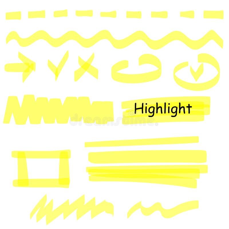 Hand drawn highlight marker lines set. Highlighter yellow strokes vector isolated on white background. Highlighter royalty free illustration