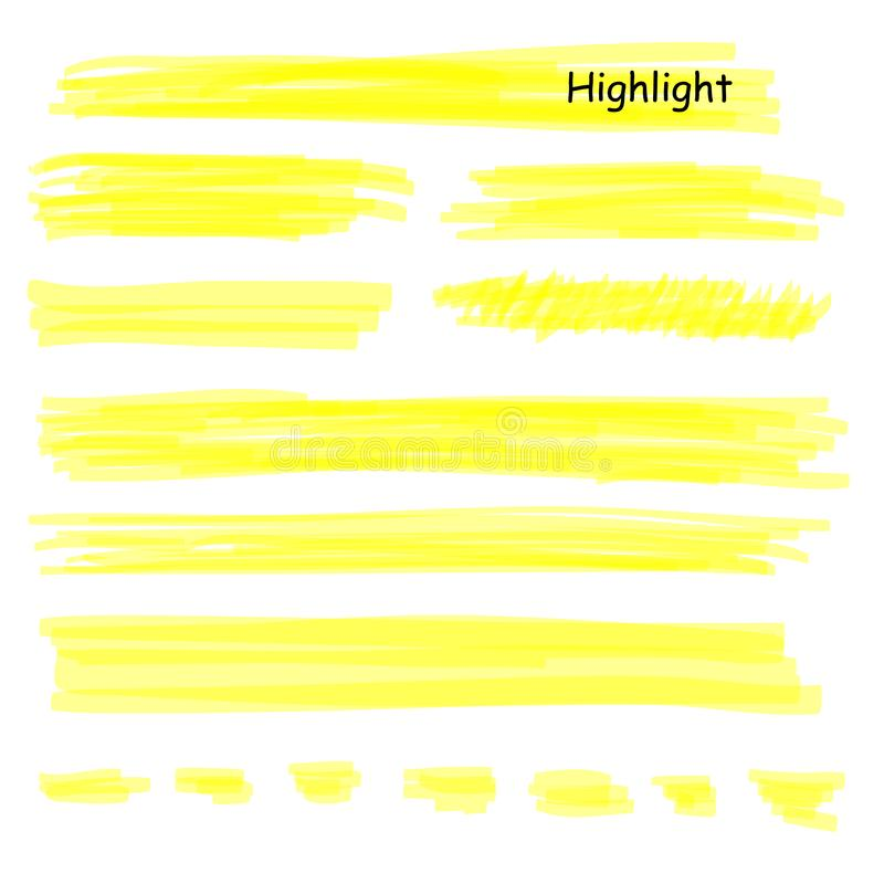 Hand drawn highlight marker lines set. Highlighter yellow strokes vector isolated on white background. Highlighter stock illustration