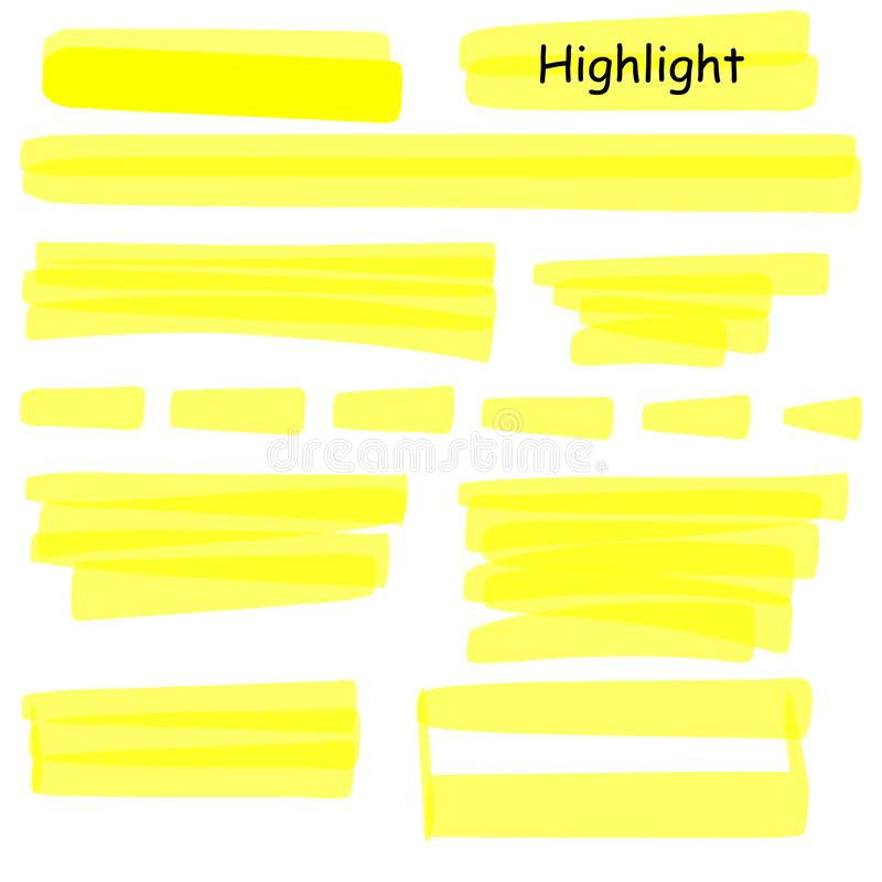 Hand drawn highlight marker lines set. Highlighter yellow strokes vector isolated on white background. Highlighter. Drawing design illustration stock illustration