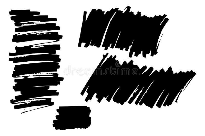 Hand drawn highlighter marker`s set. royalty free illustration
