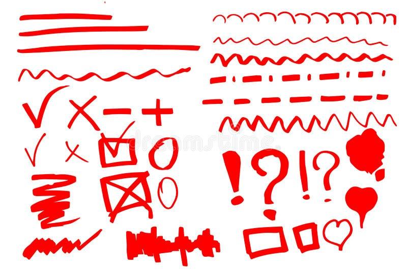 Hand drawn highlighter set royalty free illustration