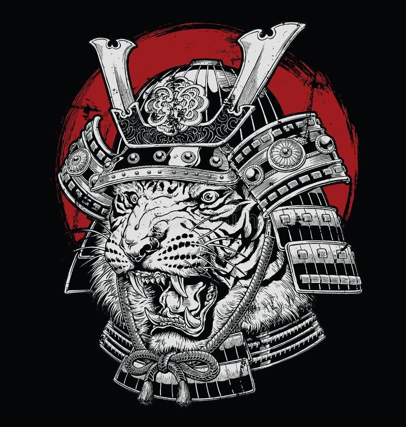Hand drawn highly detailed Japanese tiger samurai vector illustration on black ground.  stock illustration