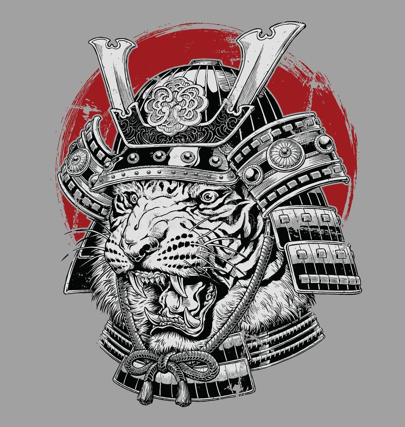 Hand drawn highly detailed Japanese tiger samurai vector illustration on grey ground vector illustration