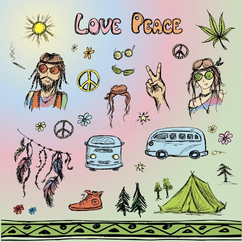 Hand drawn hippie set, sketchy design stock illustration