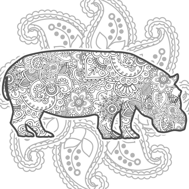 download hand drawn hippo doodle animal paisley adult stress release coloring page zentangle stock illustration - Coloring Page Zentangle