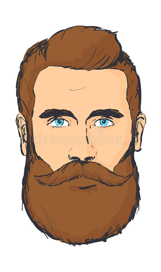 Hand drawn hipster man stock illustration