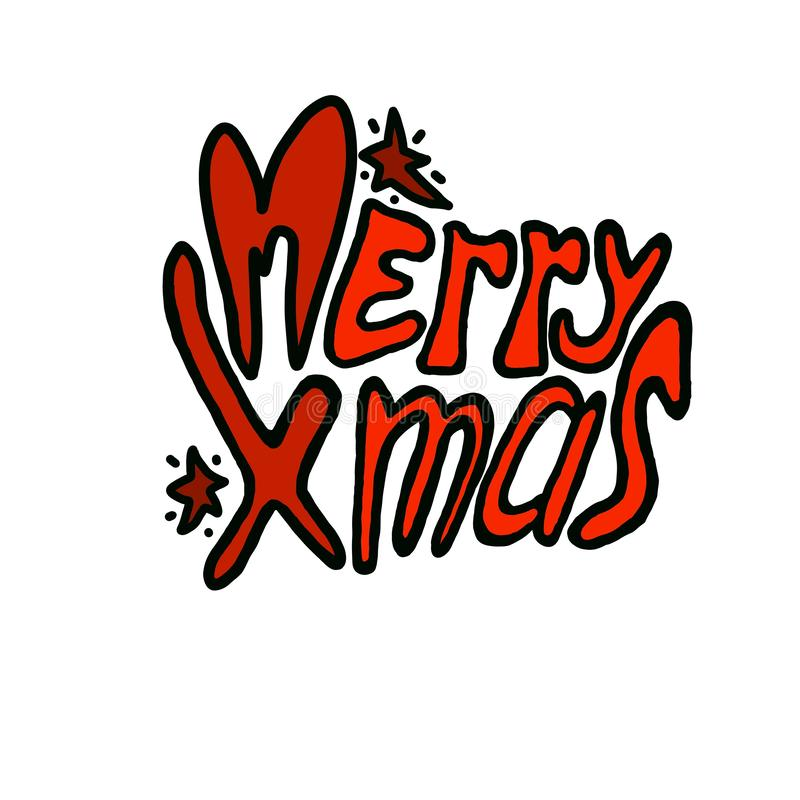 Hand drawn holiday funny doodle cartoon lettering merry christmas greeting sticker vector illustration