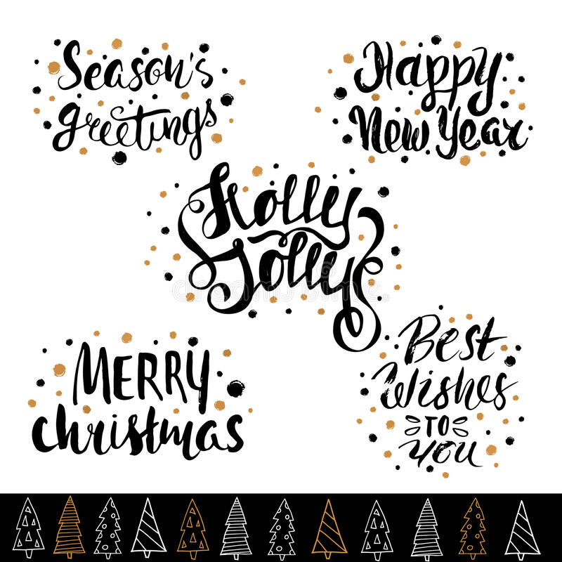 Hand drawn holiday lettering. Christmas collection of unique lettering for greeting cards, stationary, gift tags, scrapbooking. Hand drawn holiday lettering stock illustration