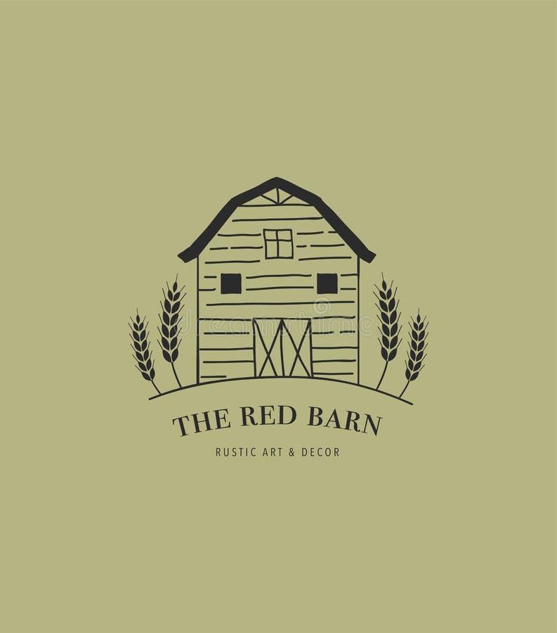 Hand drawn home, farm and barn logo, icon. vector illustration